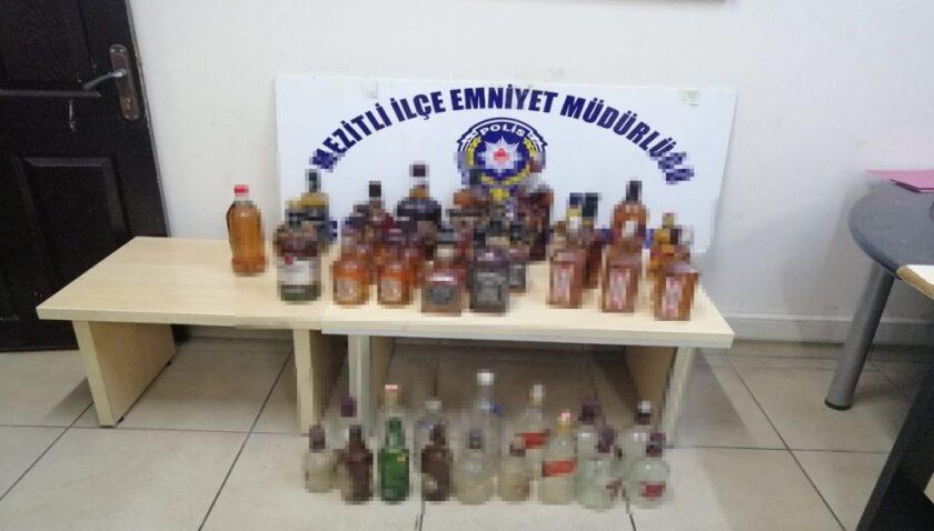 Mersin'de 30 şişe sahte içki ele geçirildi