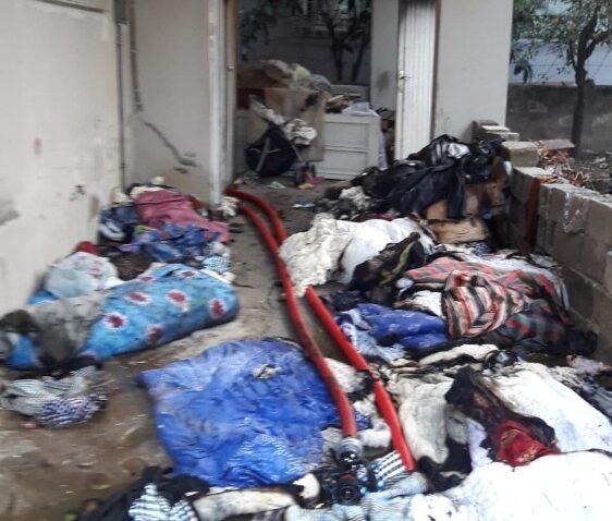 Evde çıkan yangın hasara neden oldu