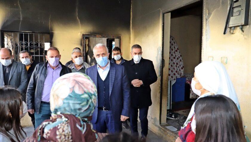 Başkan Gültak'tan evi yanan aileye destek