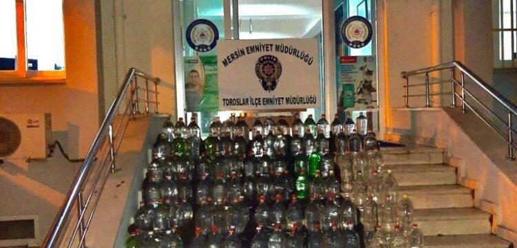 Mersin'de 537 litre sahte alkol ele geçirildi