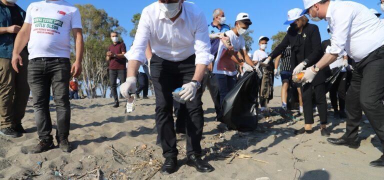 Kazanlı sahilindeki caretta yuvalama alanları temizlendi